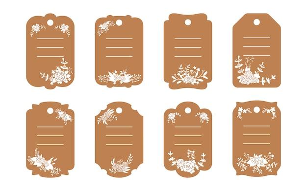 Zestaw szablonów puste etykiety brązowy. naklejki z metkami rzemieślniczymi. ozdobiona kompozycja kwiatowa, gałąź kwiatowa i liść. różne kolekcje papieru dekoracyjnego płaskiej kreskówki ramki. ilustracja