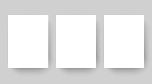 Zestaw szablonów pustego białego papieru