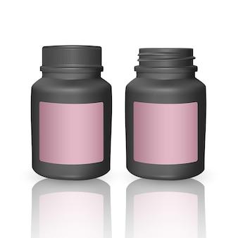 Zestaw szablonów realistycznych plastikowych butelek. puste czarne butelki