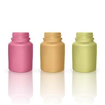 Zestaw szablonów realistycznych plastikowych butelek. puste kolorowe butelki