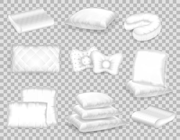 Zestaw szablonów realistycznych wzorów białych poduszek o różnych kształtach.