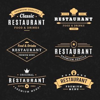 Zestaw szablonów rocznika logo restauracji