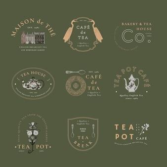 Zestaw szablonów rocznika odznaki kawiarni, zremiksowany z dzieł z domeny publicznej