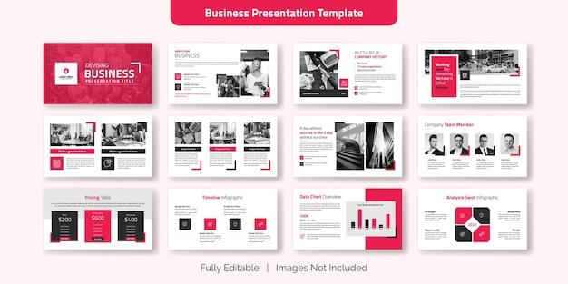 Zestaw szablonów slajdów kreatywnych prezentacji biznesowych