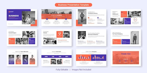 Zestaw szablonów slajdów prezentacji biznesowych