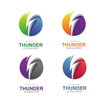 Zestaw szablonów streszczenie logo thunder