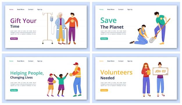 Zestaw szablonów stron docelowych działań charytatywnych. pomysł interfejsu użytkownika witryny wolontariatu z ilustracjami. układ strony głównej usług społecznościowych. ludzie i ekologia opieka koncepcja kreskówka www