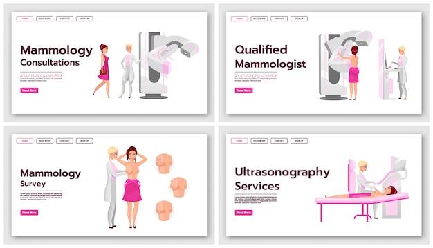 Zestaw szablonów stron docelowych mammografii. testy przesiewowe pod kątem pomysłu na interfejs witryny z rakiem piersi z płaskimi ilustracjami. układ strony głównej ultrasonografii medycznej. baner internetowy, koncepcja strony internetowej