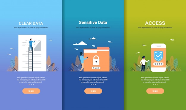 Zestaw szablonów stron internetowych jasne koncepcje dostępu do danych wrażliwych na dane różne kolekcje biznesowe