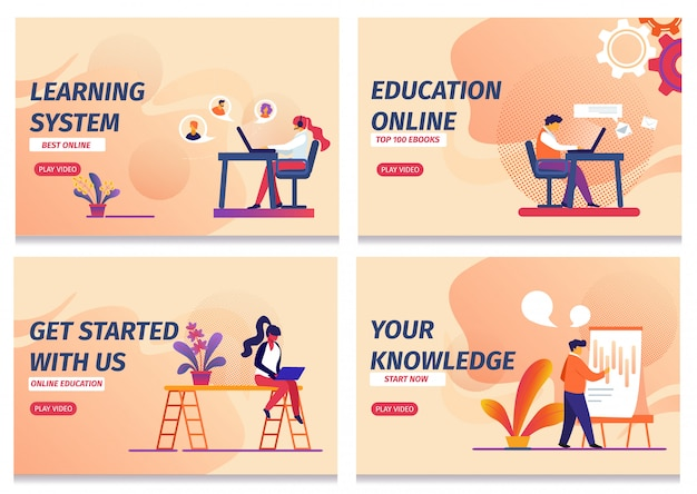 Zestaw szablonów stron internetowych strony docelowej, system nauczania, rozpocznij edukację online, wiedza