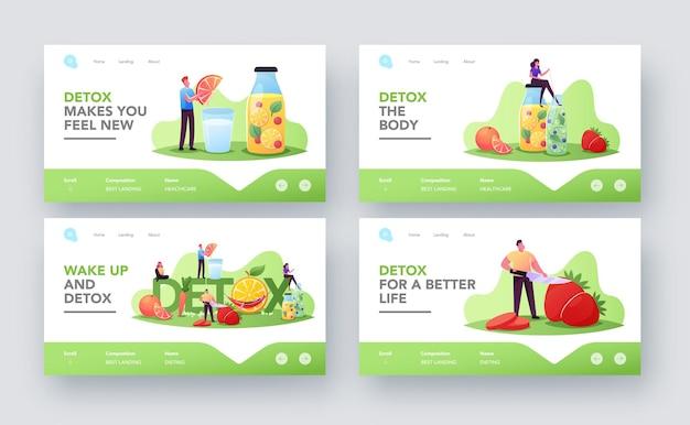 Zestaw szablonów strony docelowej diety detox. małe postacie gotujące i pijące koktajle ze świeżych organicznych owoców i warzyw. zdrowe odżywianie, koncepcja żywności witaminy. ilustracja wektorowa kreskówka ludzie