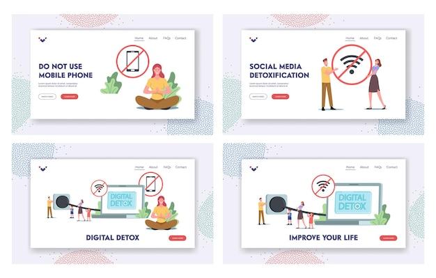 Zestaw szablonów strony docelowej digital detox. małe postacie odłącz wtyczkę laptopa wyjdź z sieci społecznościowych, wyłącz gadżety i urządzenia elektroniczne, aby zrelaksować się w trybie offline. ilustracja wektorowa kreskówka ludzie
