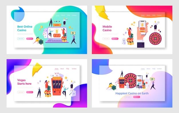 Zestaw szablonów strony docelowej dla internetowych usług kasynowych i aplikacji mobilnych.
