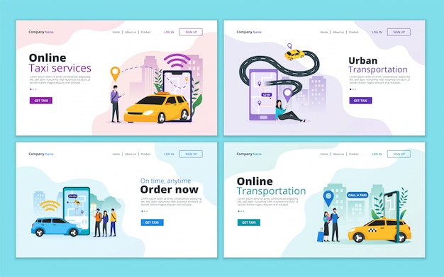 Zestaw szablonów strony docelowej dla taksówek online, usługi udostępniania samochodów i mobilnego transportu miejskiego