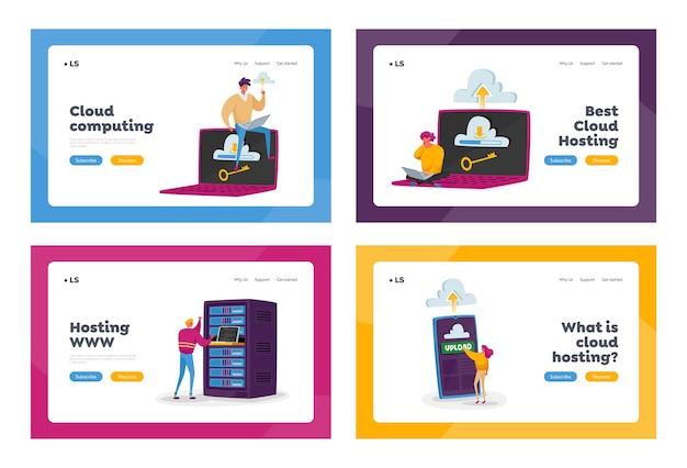 Zestaw szablonów strony docelowej do hostingu internetowego. małe postacie na ogromnym laptopie, telefonie lub sprzęcie serwerowym. programowanie internetowe, interfejs przechowywania w chmurze