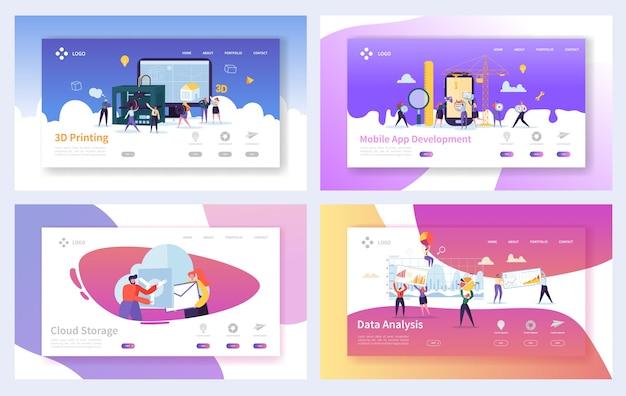 Zestaw szablonów strony docelowej nowoczesnej technologii. postacie ludzi biznesu rozwój aplikacji mobilnych, przechowywanie w chmurze, koncepcja analizy danych dla witryny lub strony internetowej.