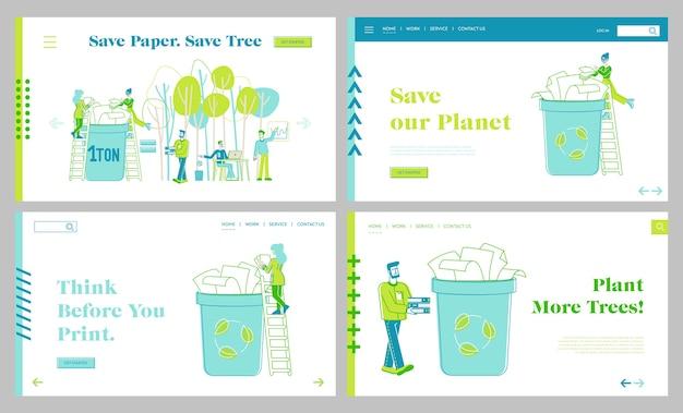 Zestaw szablonów strony docelowej oszczędzania papieru, zatrzymywania wycinania drzew i wylesiania. eco conservation, małe postacie wyrzucają odpady papierowe do kosza na śmieci w celu ponownego wykorzystania. liniowi ludzie