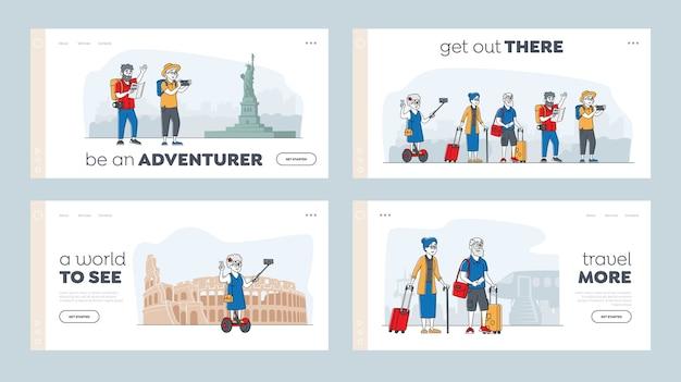 Zestaw szablonów strony docelowej podróży aktywnych emerytów. starsi turyści w obcym mieście używający telefonu komórkowego do robienia selfie. stare postacie używają inteligentnych technologii w podróżowaniu. liniowi ludzie