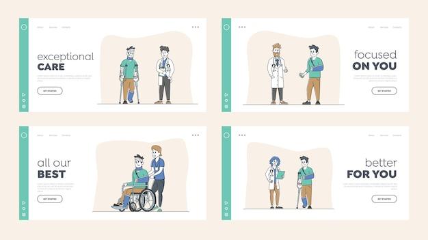Zestaw szablonów strony docelowej postaci rannych. mężczyzna na wózku inwalidzkim z zabandażowaną głową, pacjenci ze złamaną ręką i nogą, osoba o kulach z bandażem wizyta u lekarza. liniowi ludzie