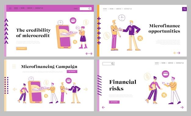 Zestaw szablonów strony docelowej usługi micro credit finance organizacji
