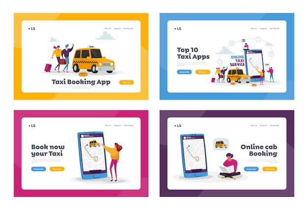 Zestaw szablonów strony docelowej usługi taksówki. postacie zamawiające taxi car use application