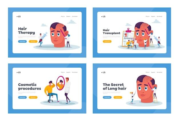 Zestaw szablonów strony docelowej z problemem utraty włosów