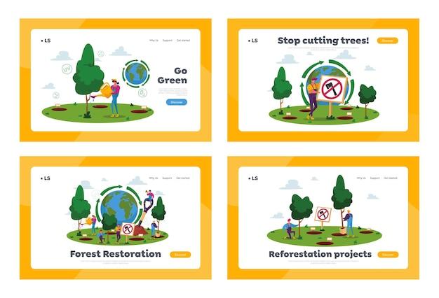 Zestaw szablonów strony docelowej zalesiania