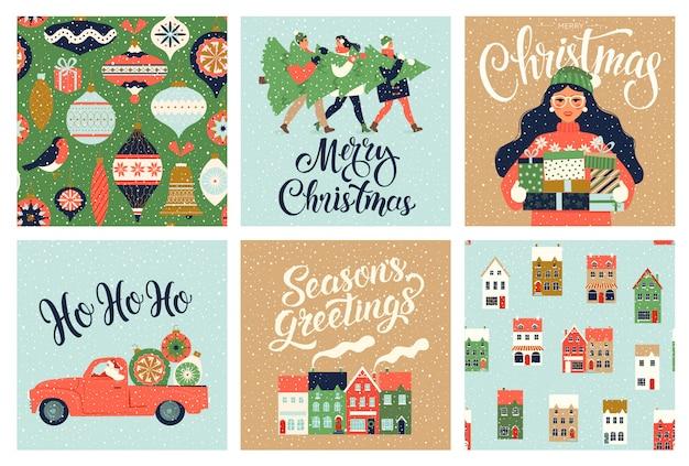Zestaw szablonów świątecznych i noworocznych na powitanie w scrapbookingu, gratulacje, zaproszenia, tagi, naklejki, pocztówki. zestaw świątecznych plakatów. ilustracja.