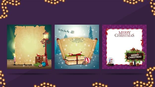 Zestaw szablonów świątecznych z puste stare pergaminy i ikony bożego narodzenia