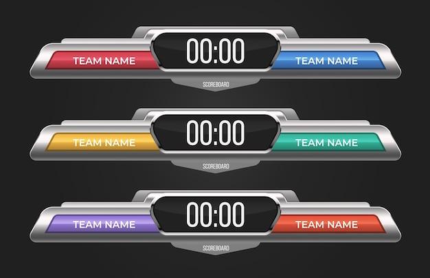 Zestaw szablonów tablicy wyników. z elektronicznym wyświetlaczem wyników i miejscem na nazwy drużyn. może być stosowany do barów sportowych, meczów krykieta, baseballu, koszykówki, piłki nożnej, hokeja