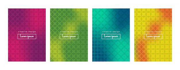 Zestaw szablonów tło okładka streszczenie minimalny gradient geometryczny