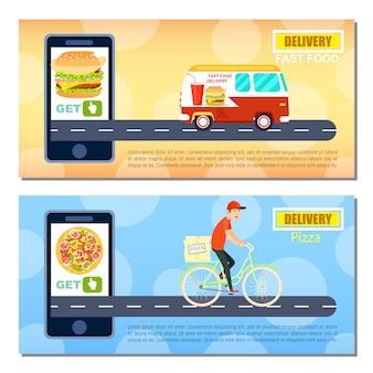 Zestaw szablonów transparent dostawy fast food i pizza