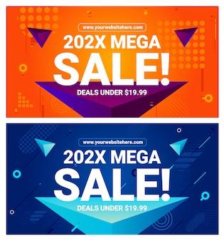 Zestaw szablonów transparent sprzedaż mega
