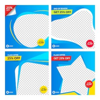 Zestaw szablonów transparent streszczenie niebieski sprzedaż.