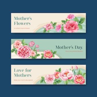 Zestaw szablonów transparent szczęśliwy dzień matki