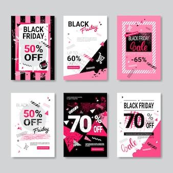 Zestaw szablonów ulotek czarny piątek dla broszury, ulotki, broszury, ulotki lub broszury
