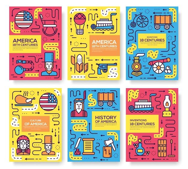 Zestaw szablonów ulotek kart, plakatów, książek, banerów. infografika tradycyjnych etnicznych płaskich, cienkich linii.