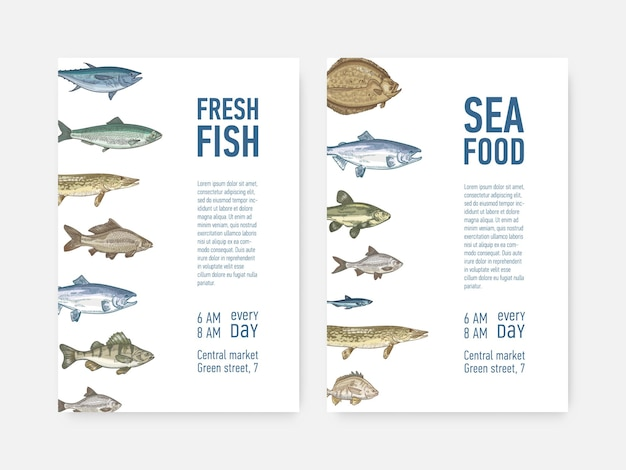 Zestaw szablonów ulotek lub plakatów z rybami