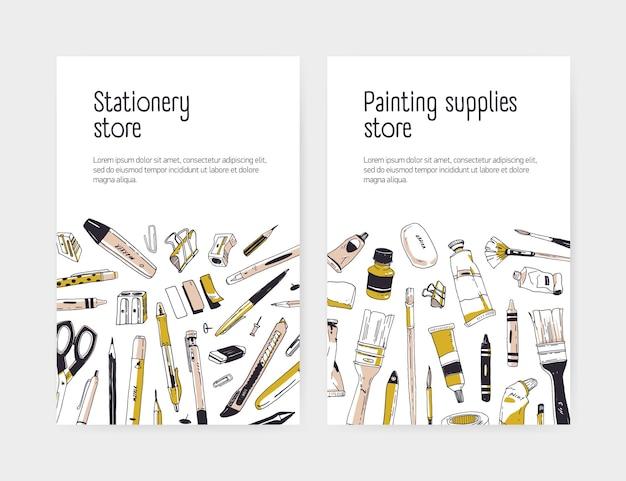Zestaw szablonów ulotki lub plakatu dla sklepu papierniczego lub materiałów malarskich sklep z rozproszonymi narzędziami artystycznymi lub biurowymi i miejscem na tekst na białym tle. realistyczne ręcznie rysowane ilustracji wektorowych.