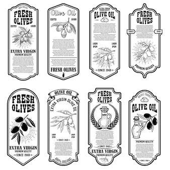 Zestaw szablonów ulotki rocznika oliwy z oliwek. element projektu logo, etykieta, godło, znak, odznaka.