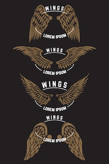 Zestaw szablonów vintage godło ze skrzydłami. elementy logo, etykiety, godła, plakatu. ilustracja