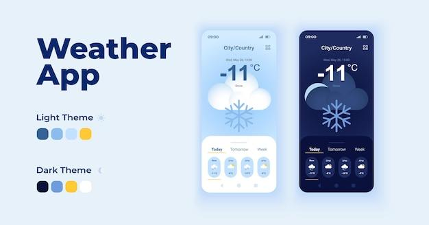 Zestaw szablonów wektor interfejs kreskówka sprawdzić prognozę pogody. zimowe zachmurzenie. projekt strony ekranu aplikacji mobilnej dzień i tryb ciemny. interfejs prognozowania dla aplikacji. wyświetlacz telefonu z płaskim charakterem