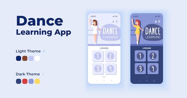 Zestaw szablonów wektor interfejs uczenia się tańca aplikacji kreskówka smartphone. projekt strony ekranu aplikacji mobilnej dzień i tryb ciemny. internetowy interfejs zajęć tanecznych do aplikacji. wyświetlacz telefonu z płaskim charakterem