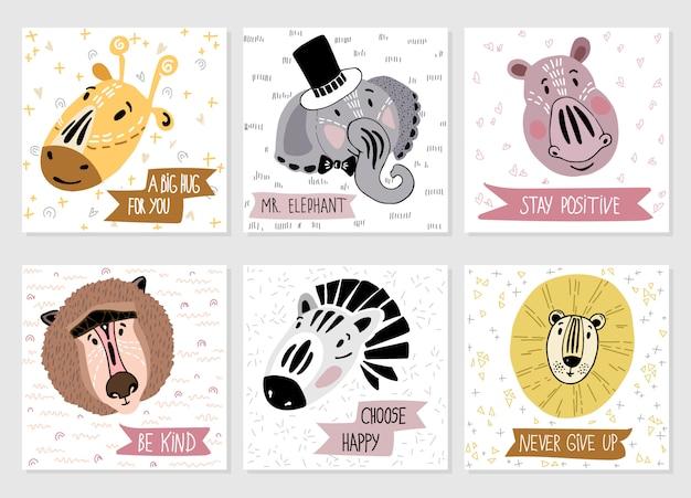 Zestaw szablonów wektorów kart z kreskówki afrykańskich zwierząt i napis