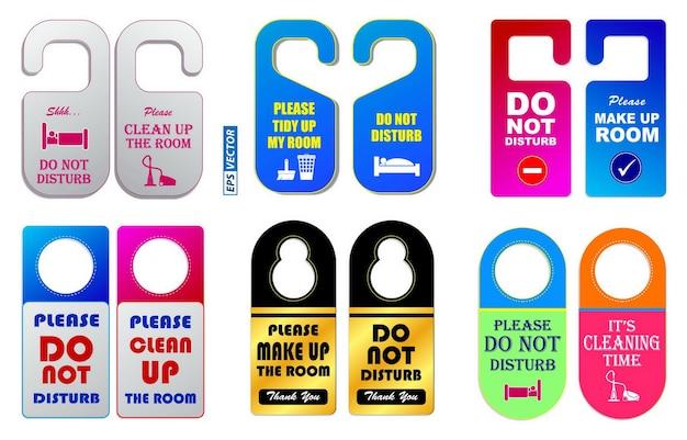 Zestaw szablonów wieszaków do pokoju hotelowego lub nie przeszkadzaj w informacjach lub szablonie etykiety koncepcja hotelu