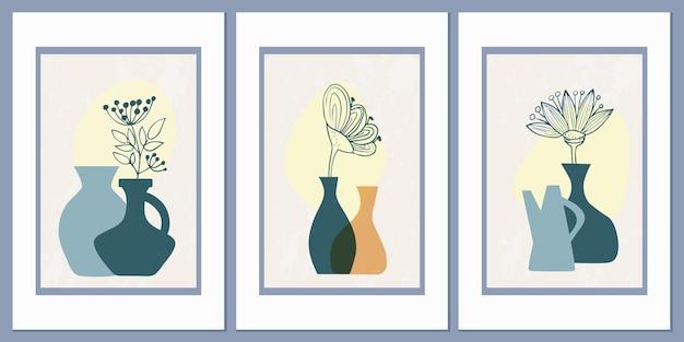 Zestaw szablonów z abstrakcyjną kompozycją prostych kształtów
