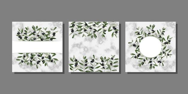 Zestaw szablonów z brunchami oliwnymi na marmurze