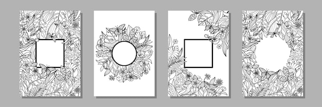Zestaw szablonów z tropikalnymi liśćmi i kwiatami kolekcja egzotycznych okładek na kartki z życzeniami