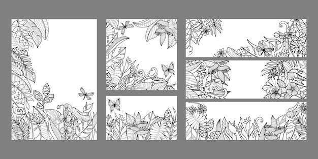 Zestaw szablonów z tropikalnymi liśćmi i kwiatami kolekcja egzotycznych okładek