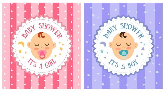 Zestaw szablonów zaproszenia baby shower party